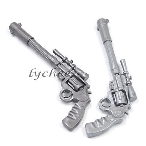 2-Pcs-Silver-Gun-Pistol-Shaped-Ballpoint-Pen-Collectors-Novelty-Kids-Boys-Gift
