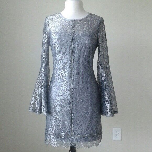 4289c4138e0c7  220 NWT White house black market metallic silver bell sleeve shift lace  dress 6