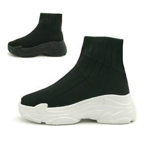 0d8733516c46c New Womens Designer Chunky Triple Sole Speed Sock Runner Ladies ...