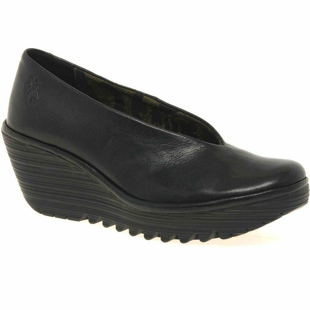 Fly London Yaz Ladies in pelle pelle pelle nera con zeppa scarpe col tacco | 2019 Nuovo  | Gentiluomo/Signora Scarpa  167820