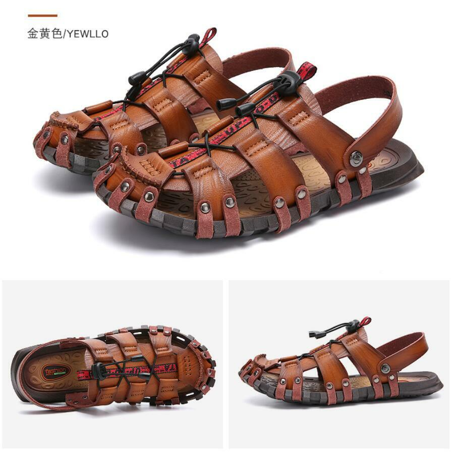 Men Leather Hollow out Sports Sandals Flats Summer Beach Fisherman Casual shoes