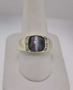 8065347b54c 10K Yellow Gold Cat's Eye And Diamond Accent Ring | eBay