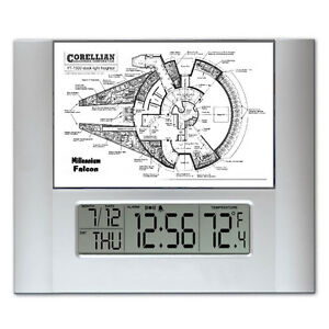 Star Wars The Millennium Falcon Plans Digital Wall Desk Clock temperature alarm