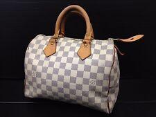 Auth Louis Vuitton Damier Azur Speedy 25 White Hand Bag 6L130010N