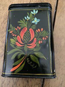 Antique Tin Toleware Cigarette Box Hand Painted Flowers