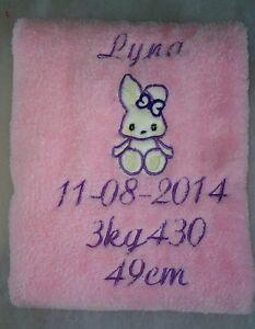 Couverture avec le prenom, la date et détails du bébé