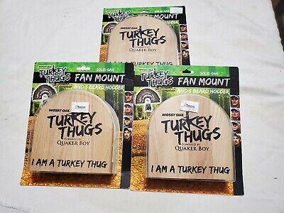 3pc lot Quaker Boy Mossy Oak Turkey Thugs Solid Oak Fan Mount 5 Beard Holder New