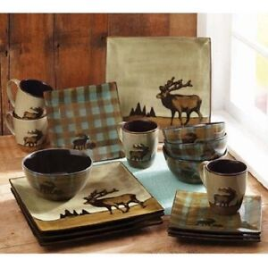 Image is loading Country-Cottage-Dinnerware-Set-Hunter-Elk-Square-Dishes- & Country Cottage Dinnerware Set Hunter Elk Square Dishes Plates Mugs ...
