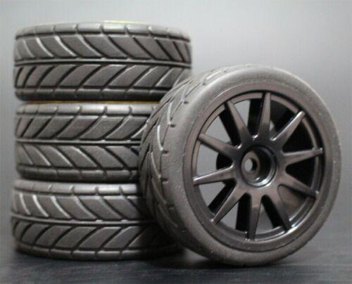 1//10 Onroad Touring Rc Car Wheels /& Rubber Tires Set for Tamiya tt01 tt02 tt01e