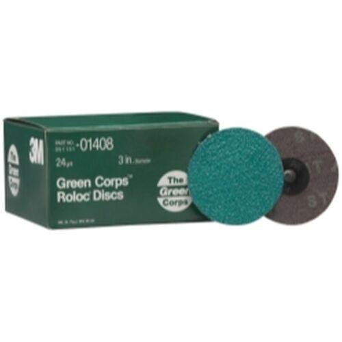 24YF Grit 25 discs per box 3M™ 01408 Green Corps™ Roloc™ Disc 3M 1408 3 inch