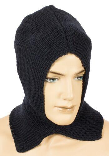 warme Kopfhaube Sturmhaube Skimaske Schlupfmütze 100/% Schurwolle marine blau