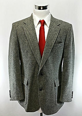 IMPERIAL By Haggar Men's 100% Wool Herringbone Sports Jacket Size 44 Black Gray