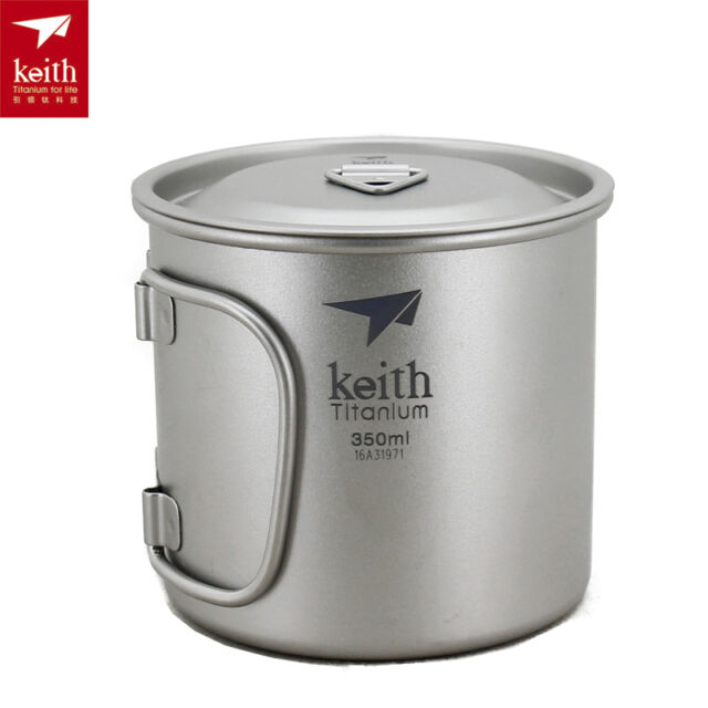 Keith Ultralight Outdoor Titanium Cup with Handle Camping Mug with Lid 350ml