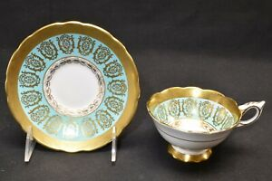 Royal-Stafford-Gold-Design-with-Green-Teal-Band-1498-Cup-amp-Saucer-Chipped