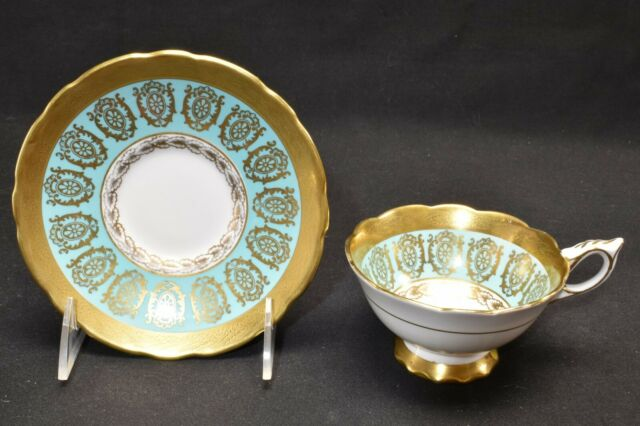 Royal Stafford Gold Design with Green Teal Band 1498 Cup & Saucer (Chipped)
