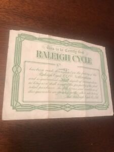 Vintage-c-1907-RALEIGH-BICYCLE-lifetime-Guarantee-Document-Raleigh-Cycle-Co