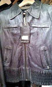 Details zu Tigha Lederjacke Gr.M NP 199 EUR schwarz grau vintage CONLEYS IMPRESSIONEN NEU