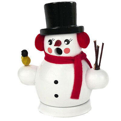 Mini Wooden Snowman Snowball Sled Made In Germany Incense Burner Smoker