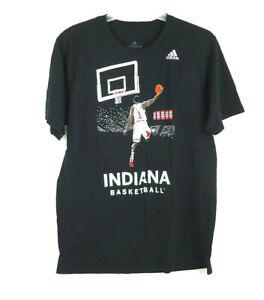 Adidas-IU-Indiana-University-Basketball-Black-T-Shirt-Men-039-s-Large