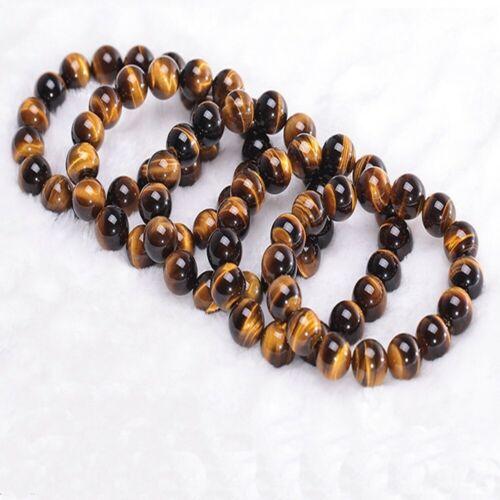 "round femmes hommes des perles bracelet bracelet /"" tiger yeux stone stretchy"