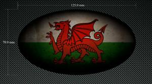 125 mm effet vieilli ovale Wales Drapeau Autocollant//Décalque-Imprimé /& Laminé-Gallois