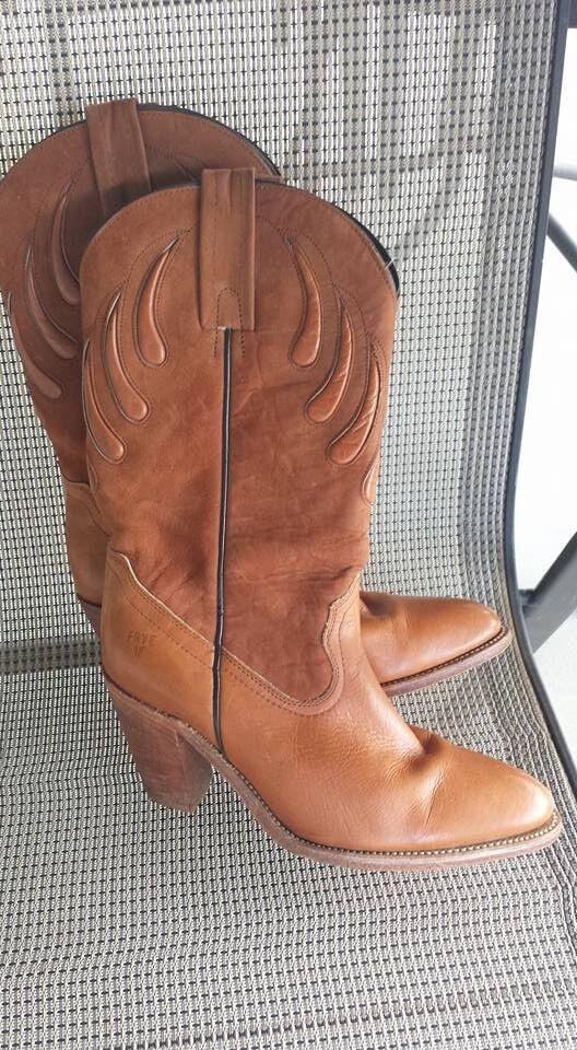 Mujer botas Tamaño 10 Frye, 2 bien usado, Marrón Claro Rust 31 2 Frye,  talón Tirar 512c18