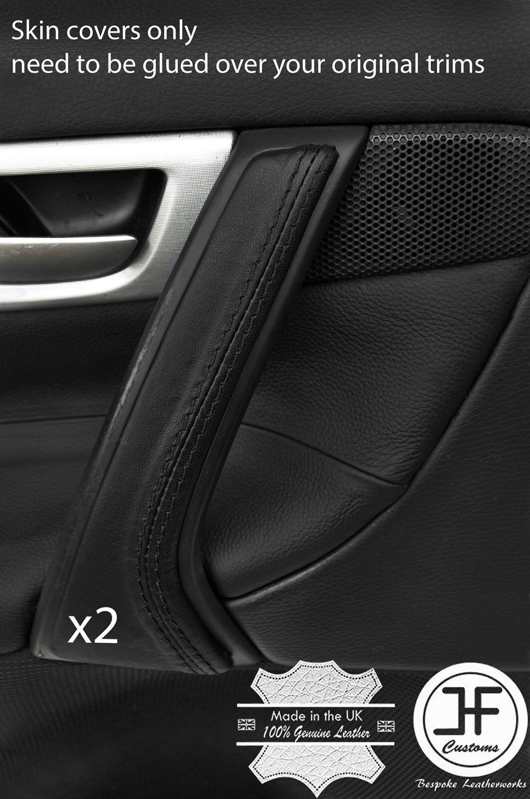 BLACK STITCH 2X REAR DOOR HANDLE TRIM LEATHER COVERS FITS BMW F30 2012-2016