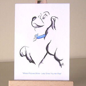 Art-Deco-WDCC-Lady-and-the-Tramp-ACEO-card-miniature-drawing-with-blue-collar