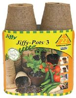 (3) Jiffy 22 Pack 3 Round Peat Pots Starting Canadian Spaghnum Moss - Jp322