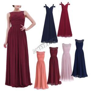 Women-Lace-Long-Chiffon-Maxi-Wedding-Bridesmaid-Formal-Party-Prom-Evening-Dress