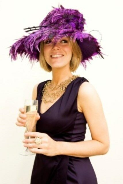 Gorgeous & Glorious Millinery Purple Feathered Hat - worn once