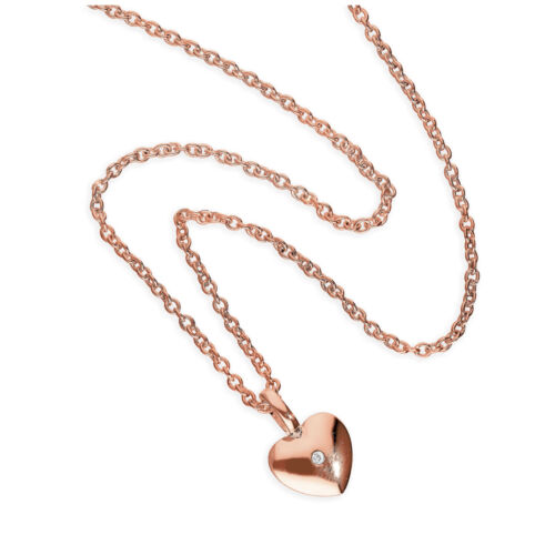 Chapado en Oro Rosa /& Plata Esterlina Genuino Diamante 18 pulgadas Collar de corazón