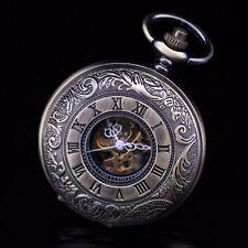 Reloj de bolsillo Latón clásico romano ver a través de Unisex Hombres mecánico cuerda