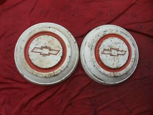 """1967 1968 Chevy C10 1/2 ton Truck 10.5"""" Painted Dog Dish Hubcaps Set of 2"""