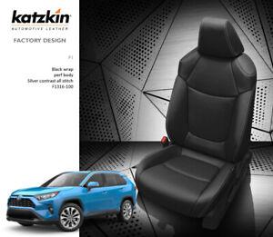 Marvelous Details About 2019 Toyota Rav4 Le Xle Katzkin Leather Seat Covers Replacement Kit Black Silver Creativecarmelina Interior Chair Design Creativecarmelinacom