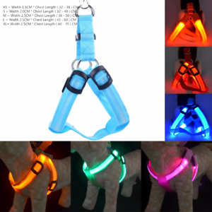 Dog-Harness-Collar-Nylon-LED-Small-to-Large-Pet-Cat-Safety-Light-Up-High-Quality