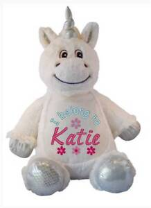 Teddy-bear-Pearsonalised-Unicorn-Flower-Girl-Gift-New-Baby-Gift-Cubbie