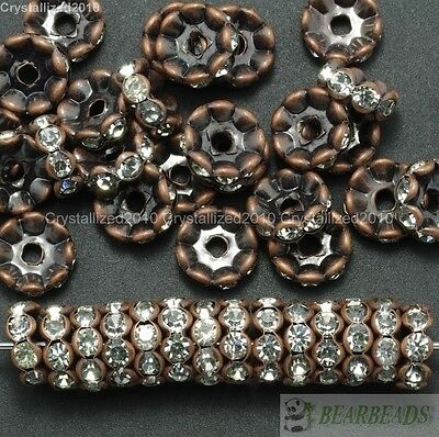100 Czech Crystal Rhinestone Copper Wavy Rondelle Spacer Beads 4mm 6mm 8mm 10mm
