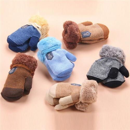 Winter Warm Kids Toddlers Baby Boys Girls Thick Gloves Neck String Mittens HO