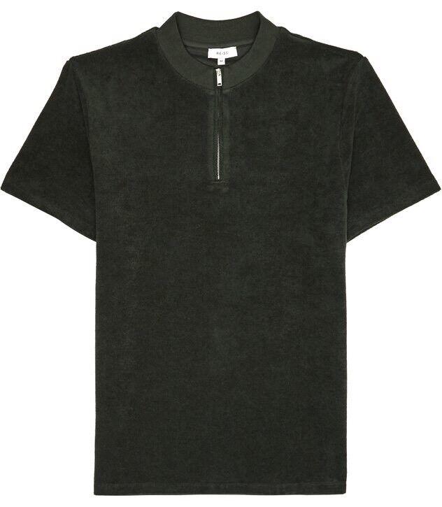 BNWT Reiss 'Dinnington' Dark Grün Zip Short Sleeved Top Größe klein