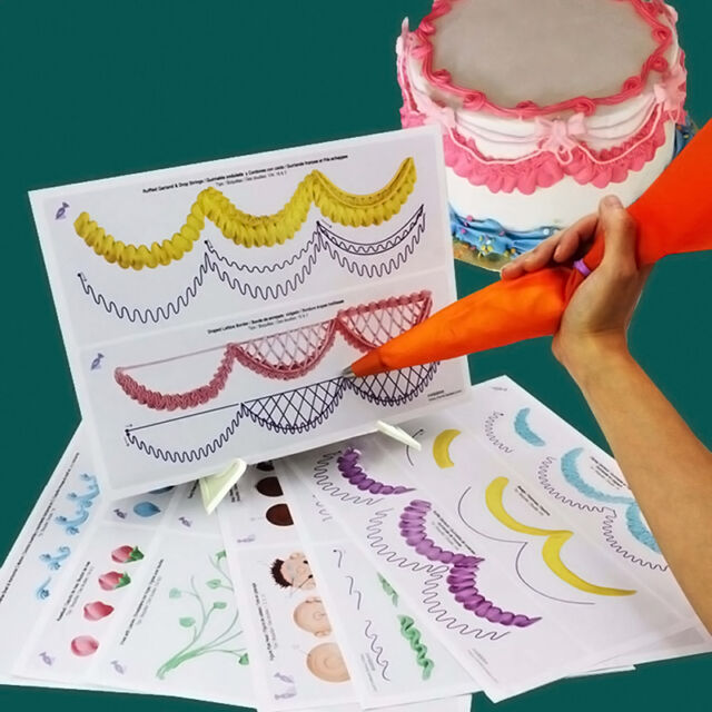 23 Sheet Cake Decorating Practice Board Icing Drawing Paper Sugarcraft Mould NEW