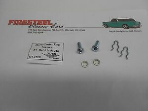1957-Chevy-BelAir-amp-210-17-179B-HORN-RING-CENTER-CAP-SCREW-SET-New