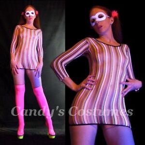 Neon CANDY Stripe CROCHET Knit FISHNET Mini SEE-THROUGH Rainbow SEXY Dress 6-10