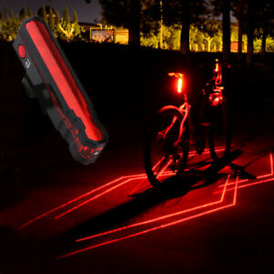 Rechargeable Bike Bicycle Laser /& 5 LED Rear Tail Light Night Cycling Rear Lamp