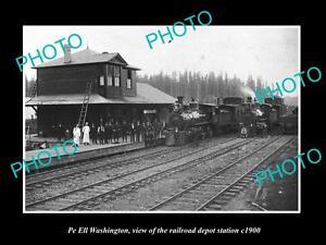 OLD-LARGE-HISTORIC-PHOTO-OF-PE-ELL-WASHINGTON-THE-RAILROAD-DEPOT-STATION-c1900