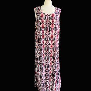 ATTITUDES-BY-RENEE-Petite-Women-Size-3X-Tribal-Print-Sleeveless-Knit-Maxi-Dress