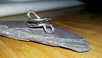 Handmade 925 Sterling Silver Hammered Thick Wire Infinity Ring Boho Hippy
