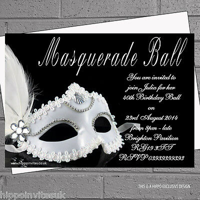 env H0865 Personalised Masquerade Invitations Birthday Party Masked Ball x 12