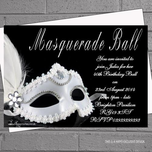 12 x Masquerade Party Invitations Ball Birthday Black White Feather MaskH0105
