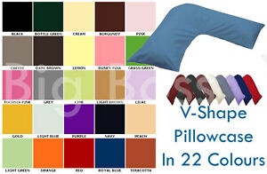 V Shape Pillow Case In Standard Size In 26 Colours